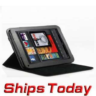 Leather Case Cover 3 Angle fo  Kindle Fire 7 Tablet blk
