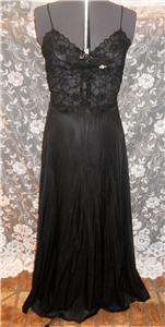 Vintage Lily of France Double Chiffon Satin Lace Black Peignoir Set