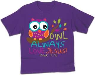 Owl Always Love Jesus ~ Kids Christian T Shirt ~ Purple ~ Kerusso