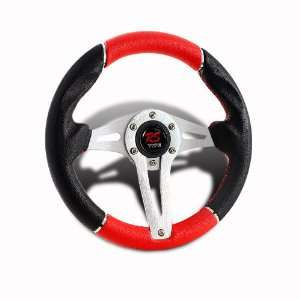 320MM 6 Hole JDM Black/Red PVC Leather Steering Wheel