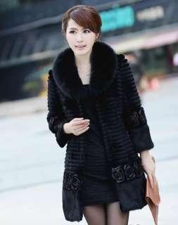 Womens Ladies fur coat overcoat jacket fox fur collar