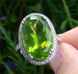 Estate Certified 15.74 Carat Natural Peridot Diamond Vintage Ring 14K