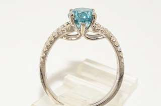 9000 2.04CT ROUND CUT BLUE DIAMOND ENGAGEMENT RING VS SIZE 6.5