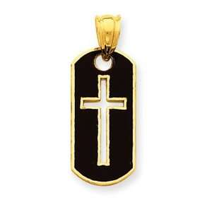 14k Yellow Gold Polished Cross Cut out Pendant Jewelry