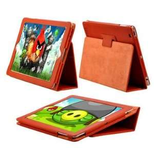 High Quality Magnetic Folding Stand Leather Case for iPad 2(Orange)