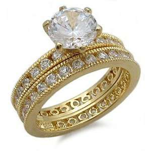 Gold Plated Sterling Silver Antique Style CZ Wedding Ring Set   Size 8
