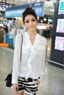 New Korean Womens Stand Collar See through Chiffon Blouse Shirt Top
