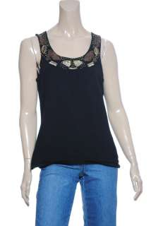 NEW Cable & Gauge Sleeveless Beaded Trim Top Sz M