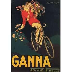 BIKE GANNA BOY FLOWERS ITALY ITALIAN LARGE VINTAGE POSTER