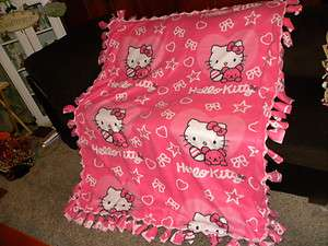 HELLO KITTY handmade no sew tied fleece blanket,Hello Kitty &pink