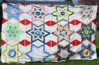 Vintage Huge Grandmothers Flower Garden Quilt Top 1960s Hand Pieced