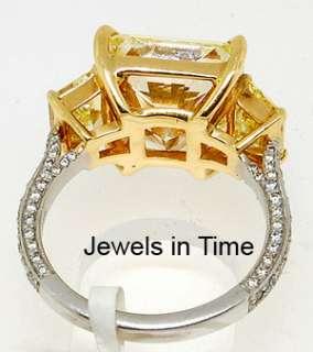 Ring 7.96 CT Fancy Yellow Diamond Radiant Platinum GIA