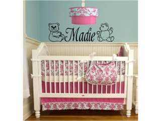 GIRLS NAME & TEDDY BEARS Room Baby Nursery Wall Decal