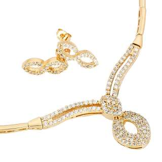 WEDDING Fashion Jewelry Set 18K Gold Plated Golden Necklace Earrings