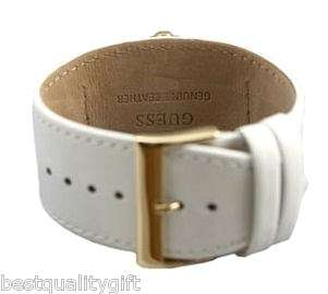 GUESS WHITE & GOLD LEATHER STRAP+CRYSTALS U10560L1 NWT