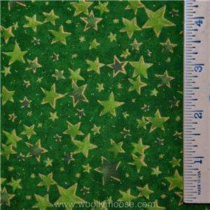 Quilt SEASONS GREETING Christmas Green Gold STARS Fabric 1/2 YD