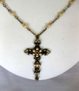 Michal Negrin Swarovski Crystal & Pearl Victorian Cross