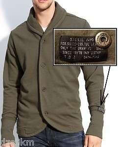 Diesel Cardigan in Taupe (dark grayish brown) Trim Fit & Shawl Collar