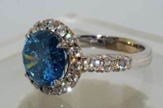 24988 4.34CT ROUND CUT BLUE DIAMOND ENGAGEMENT RING VS SIZE 6