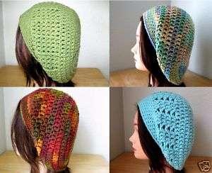 GREEN Brown BLUE Crochet SLOUCHY Beret Tam HATs Knit