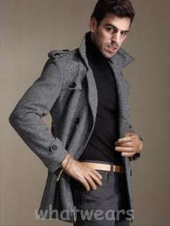 Mens Slim Double Breasted Trench Coat Jacket Grey C04