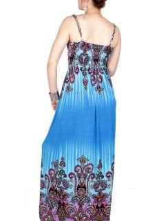Sexy womens strap deep V boho summer long maxi dress US4 12 N22