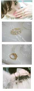 New Cute White Flowers CZs Fashion Gold Ring Size 7