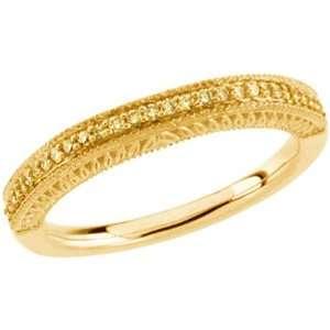 Yellow Gold Natural Yellow Diamond Wedding Band   0.16 Ct. Jewelry