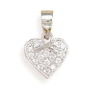 Cleversilvers Rhodium Plated Cz Heart/Ribbon Pendant