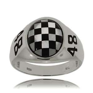 Nascar #48 Ring Sterling Silver Onyx Mother of Pearl