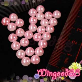 30pcs Round Pink Pearl Bead Rhinestones For Nail Art Acrylic