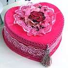 Pink Velvet Heart Flower Necklace Jewelry Display Gift Box Case
