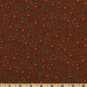 44 Wide Black Bird Acres Flower Burnt Orange Fabric By