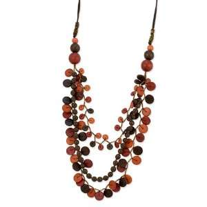 Multicolor Hamba Wood Beaded 32in Slip on Necklace