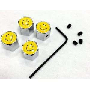 Happy Face Anti Theft Tire stem Valve Caps (4 pcs