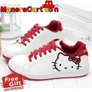 Hello Kitty Ladys Comfy Sneakers Shoes White #910613 w/ KITTY BONUS