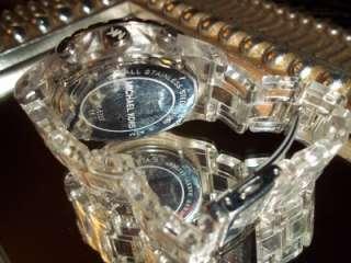 MICHAEL KORS MK5337 Clear Acrylic DESIGNER Watch SWAROVSKI Crystal