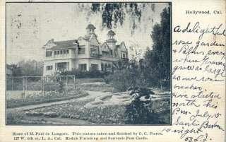 Hollywood CA Paul de Longpre Home c1910 Postcard