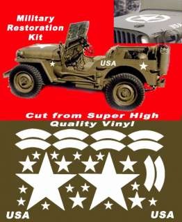 Army Jeep Stars Star Military Decals Graphics USA
