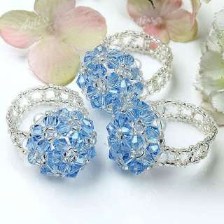 Clear Blue Crystal Glass Faceted Cube Beads Finger Ring