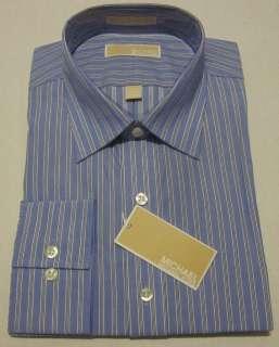 Michael Michael Kors Mens Blue & White Blue Haze Stripe Dress Shirt