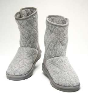 UGG Mountain Quilted Womens Grey Bailey Button Classic Knit Boot Size