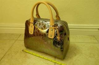 Michael Kors Logo Mirror Metallic Signature Handbag Satchel Bag Nickel