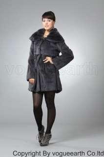 180 new real Rex rabbit fur black/gray coat/jacket