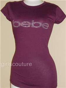 Rare Color BEBE Rhinestone Grape Purple Logo T shirt