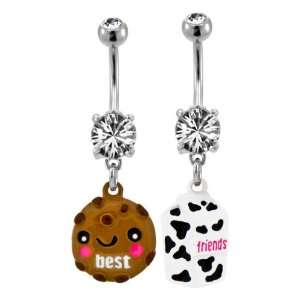 316 Surgical Steel Clear Prong Set Best Friends Milk and Cookie Belly
