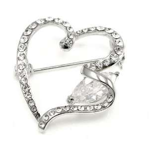 Perfect Gift   High Quality Elegant Heart Brooch with Silver Swarovski
