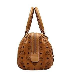 NWT MCM Boston Bag VISETOS Vintage Brown