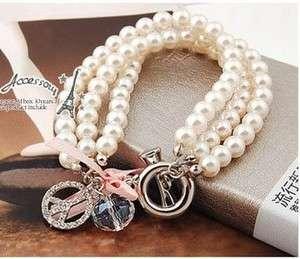 Imitation Pearl Chain Rhinestone Bracelet Bangle Bead