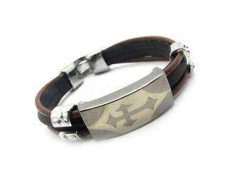 Mens Black holy cross leather Bracelet Silver Stainless Steel cool